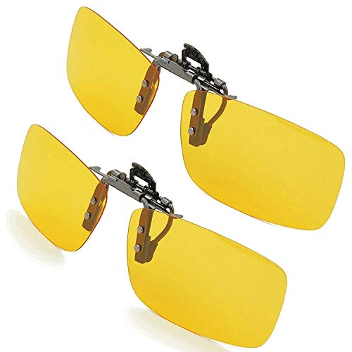 SPLAKS Sonnenbrille Aufsatz 2-Stück Clip on Plarisiert Sonnenbrille Flip polarisiert gegen Licht ideal für Nachts Fahren Unisex Frauen und Männer Brillenträger (2er Gelb)