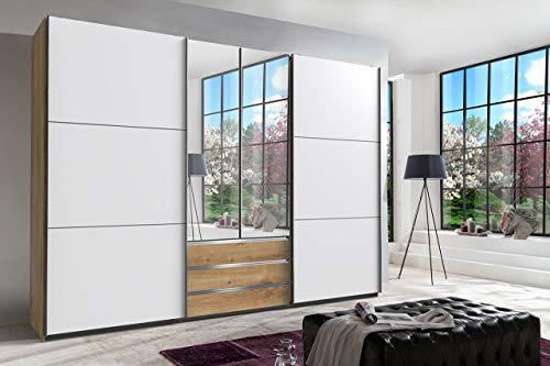 lifestyle4living Kleiderschrank in Plankeneiche-Nachbildung - Außentüren in Glas, Schwebetüren-Schrank mit 3 Schubkästen, 2 Spiegeltüren, 300 cm