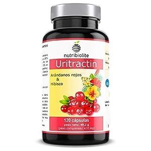Nutribiolite Uritractin - Extractos de arándano rojo 12500 mg + Flor de hibisco 825 mg. 120 capsulas. Vegano, Sin gluten o lactosa. No OGM