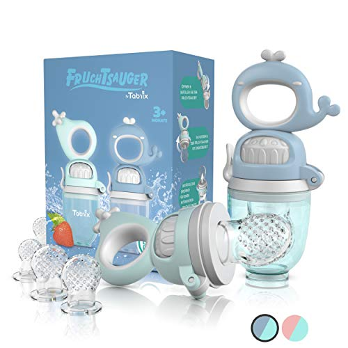 TABRIX® Fruchtsauger Baby ab 3 Monate & Kleinkind (2x) - Zahnungshilfe Baby mit Druckfunktion für Beikost -BPA-Frei- Alternative für Schnuller/Beißring Baby - Baby Geschenk - Baby Essen Zubehör