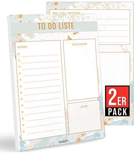 blaash® 2er Set To Do Block DIN A5 | 50 Seiten Tagesplaner mit Listen für Aufgaben, Notizen und Ideen | Optimale Organisation und Motivation im Alltag | ToDo Liste Block | Notizblock To Do