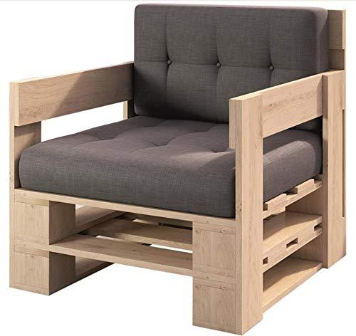 sunnypillow Palettenmöbel Gartenmöbel Set aus Holz Indoor/Outdoor Europaletten Möbel Sofa fürBalkon Terrasse Garten Natur Sessel 80 x 60 cm Höhe : 30 cm