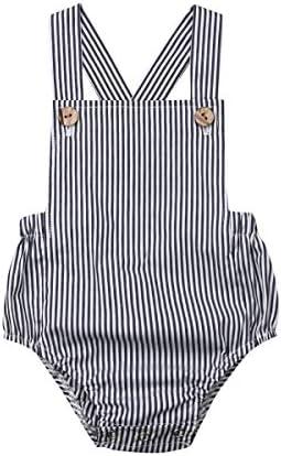 WALLARENEAR Newborn Infant Baby Suspender Romper Bodysuit One Pieces Sleeveless Jumpsuit Boy product image