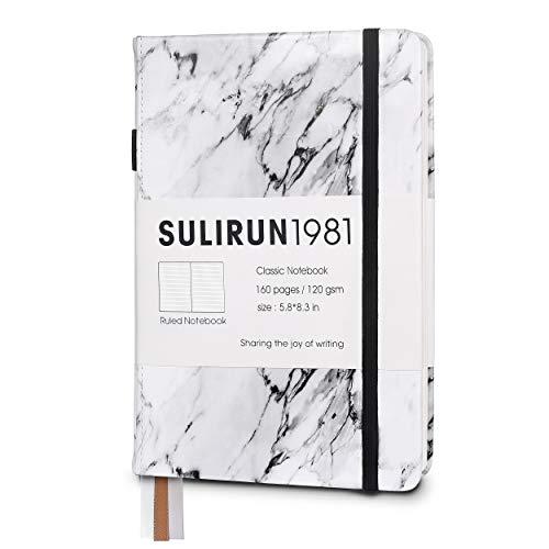 Cuaderno de tapa dura A5 con cuadrícula de puntos, papel grueso de primera calidad con lazo para bolígrafo, 120 g/m², 160 páginas, 5.8 pulgadas x 8.3 pulgadas