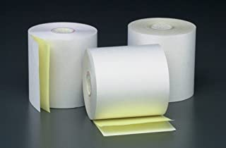 3 X 2 7/8 X 100' 2 Ply White/Canary POS/Cash Register Rolls 7/16