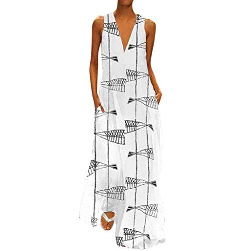 Xmiral Kleid Damen Ärmellos V-Ausschnitt Gedruckt Sommerkleid für Strand Urlaub Knöchellang Lose Beiläufig Täglich Kleider(Weiß,L)