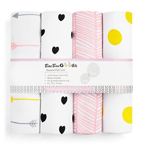 BaeBae Goods Ensemble de draps-housses pour matelas et coussinets en jersey super doux en coton - 150 g/m² - Collection à pois dorés