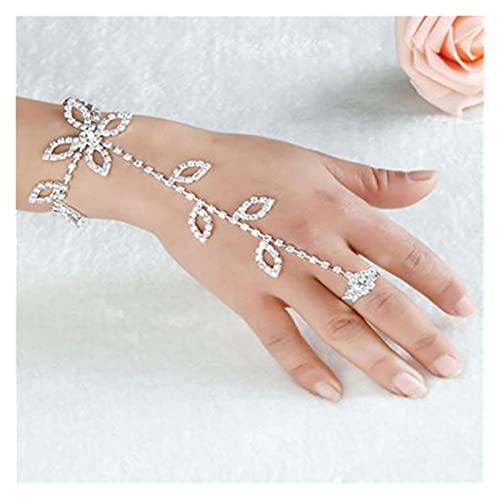 Breve mujer cristal Rhinestone hoja mano arnés esclavo cadena de enlace pie dedo anillo moda fiesta decoración anillos Jewelr