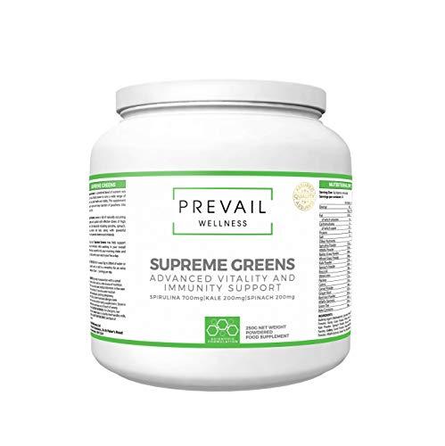 PREVAIL Wellness Supreme Greens   Fórmula rica en vitaminas y minerales   250 g   Adecuado para hombres y mujeres   Fabricado en el Reino Unido