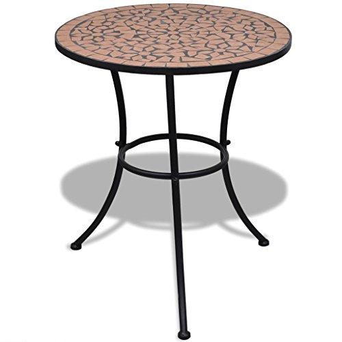 Lingjiushopping mosaïque Table 60 cm en terre cuite Couleur : Terre cuite Matériau : acier laqué Structure en fer + en céramique de table