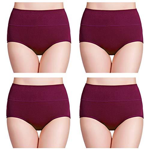 wirarpa Womens Cotton Underwear High Waist Full Coverage Brief Panty 4 Pack Size 4 Dark Red
