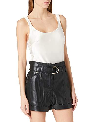 Morgan Short Faux Cuir ceinturé Revers SHULIE Pantalones Cortos de Vestir, Noir, T38 para Mujer