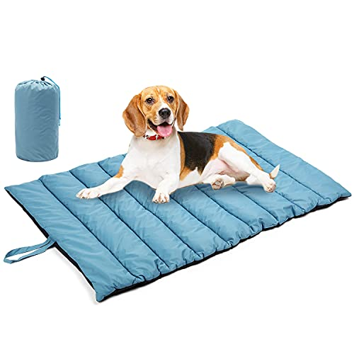 Outdoor Dog Bed Mat for Dog Sleeping - TOYSBOOM Portable Dog Travel Bed for Camping, All Season Waterproof Dog Bed for Large Medium Small Dogs - 44'' x 26'' Dog Crate Mat Washable Thick & Soft