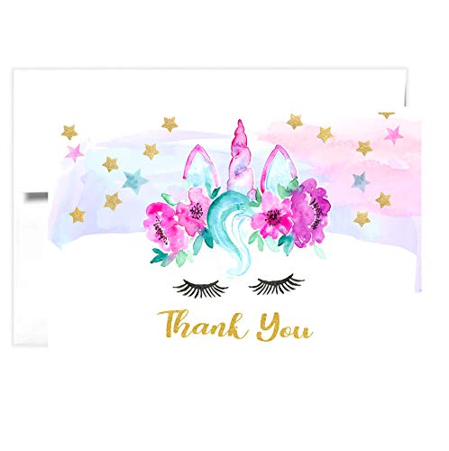 TINSELBOX Magical Unicorn Thank you Cards   Blank Inside   Watercolor with Digital Gold Foil