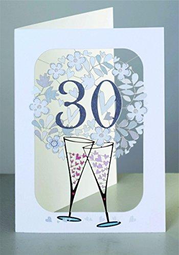 FOREVER Perlenhochzeit 30 Geburtstag Laser Cut Karte 3D Blumenkranz Sekt 16x11cm