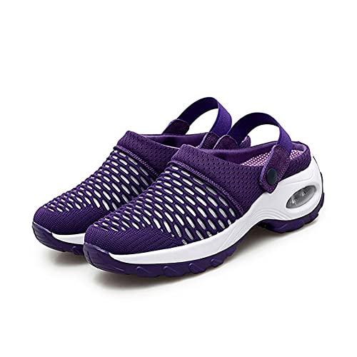 Zapatos casuales para mujer, zapatos deportivos, zuecos, fitness, correr, viajes de jardín, zapatos para el hogar, malla transpirable, zapatos de cojín de aire elevado, Purple, 39.5 EU