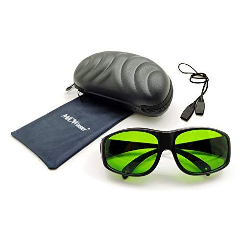 MCWlaser Gafas protectoras de seguridad láser Gafas 190-470 y 800-1700nm Típico para 355nm 405nm 445nm 532nm 808nm 810nm 980nm 1064nm 1470nm 1550nm Tipo de absorción EP-8 Estilo 9 ⭐