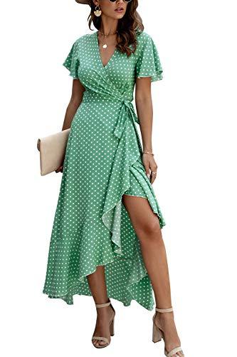 Zilcremo Damen Boho Lange Kleider V-Ausschnitt Sommerkleider Kurzarm Maxikleid Strandkleid Wickelkleid mit Gürtel Grün M