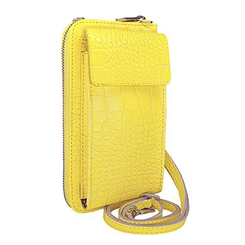 Skutari Cococo Barilli - Bolso bandolera de piel para mujer, para colgar en el móvil, multifunción, fabricado en Italia, correa ajustable, color Amarillo, talla 20cm x 10cm x 6cm