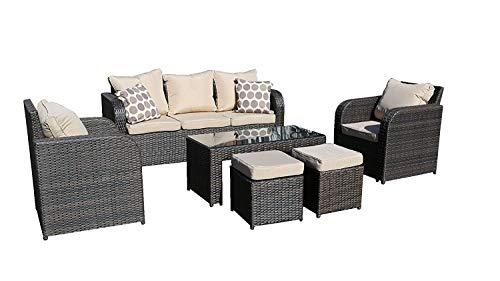 YAKOE 600127plazas ratán Muebles de jardín Juego de sofá Plus reclinable sillas jardín de Invierno al Aire Libre–marrón