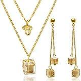 Parure femme boucles d'oreilles et collier dorés en OR 18K et Cristaux Swarovski ǀ...