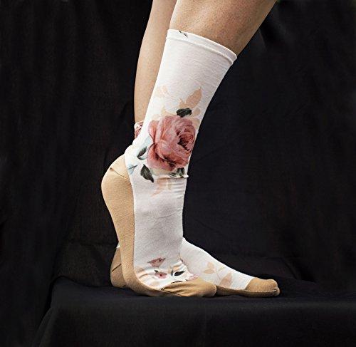 Floral Modal Socks. Light and Beige. Soft Feminine Homemade Socks. Ankle Socks. Women's Socks.