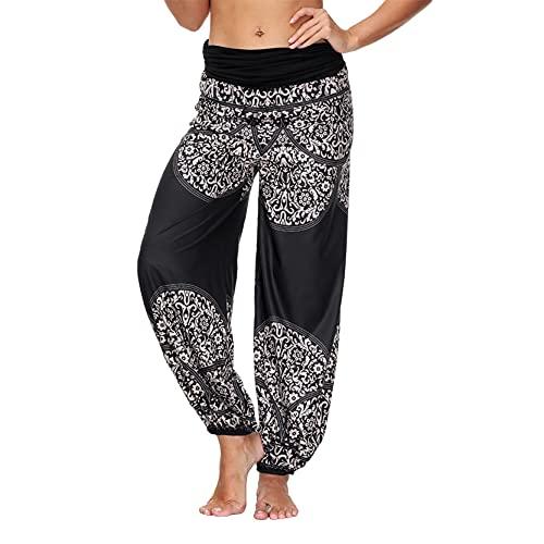 Leggins Mujer Fitness Mallas Gimnasio Pilates, Pantalones de yoga sueltos de cintura alta femenina Boho Harem Hippie Pantalones Bohemian Salón Pantalones de verano Playa de verano Casual Pantalones de
