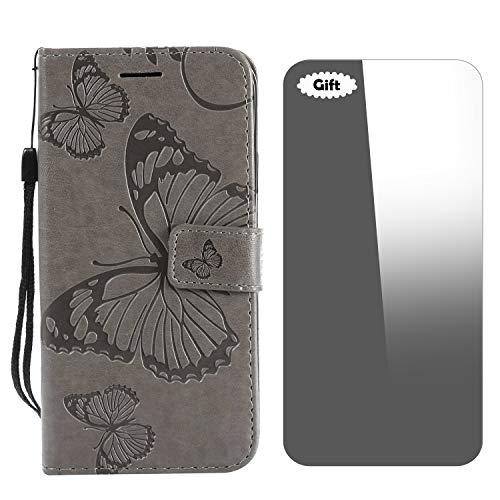 Galaxy J5 Prime / On5 2016 Hülle, Conber Lederhülle Handyhülle mit [Frei Schutzfolie], PU Tasche Leder Flip Case Cover 3D Schmetterling Schutzhülle für Samsung Galaxy J5 Prime / On5 2016 - Grau