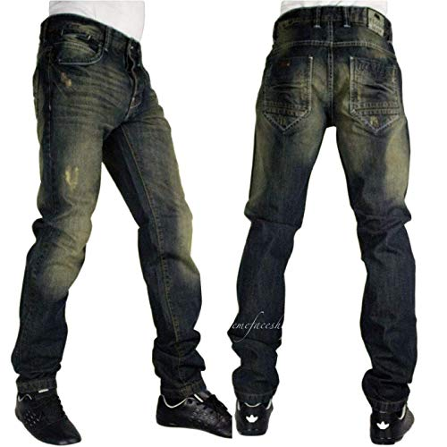 Peviani Mens Vintage Star Denim Jeans Urban Hip Hop G Straight Fit Verde Tinta Tinta verde Middlesbrough 30W x 33L