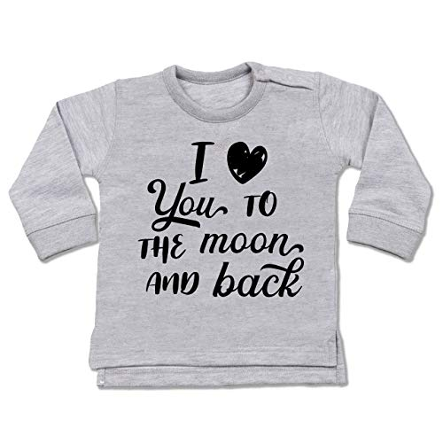 Shirtracer Valentinstag Baby - I Love You to The Moon and Back schwarz - 6/12 Monate - Grau meliert - Pullover - BZ31 - Baby Pullover