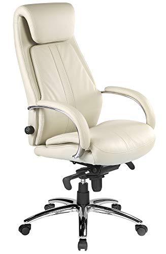 Kijng Chefsessel Throne - Beige Kunstleder - Ergonomischer Bürostuhl Schreibtischstuhl Drehstuhl Sessel Stuhl