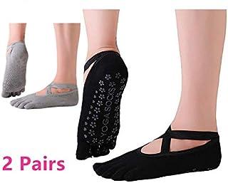 Calcetines de yoga antideslizantes para mujer, antideslizantes, para pilates, para mujer, calcetines de ballet, con empuñaduras, 2 pares