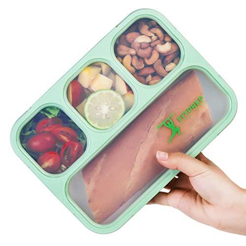 FITPREP® Lunchbox Meal Prep Bento Brotdose - 1 Stück - 4 Fächer - Dicht - BPA frei- für Kinder & Erwachsene inkl Ebook mit tollen Rezepten