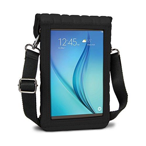 USA Gear Schutzhülle für 7 Zoll Tablets, Umhängetasche mit Touch-Funktion aus Neopren, Schwarz
