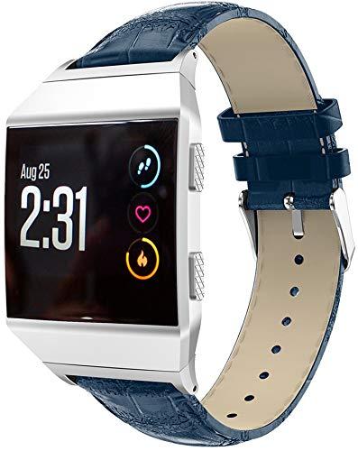 Classicase Schnellverschluß Uhrenarmbänder kompatibel mit Fitbit Ionic - Leder Armbänder für Herren und Damen im eleganten Stil (Blau)