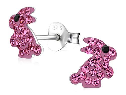 Laimons Kids Orecchini a pressione per bambini gioielli per bambini Coniglio Rosa, Nero Con brillantini Argento Sterling 925