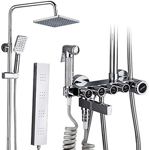 Ducha de mano Cabezal de ducha de cinco velocidades montado en la pared Lavadora trasera presurizada Juego de ducha de bañoFácil instalación (Tamaño: HT-81432)