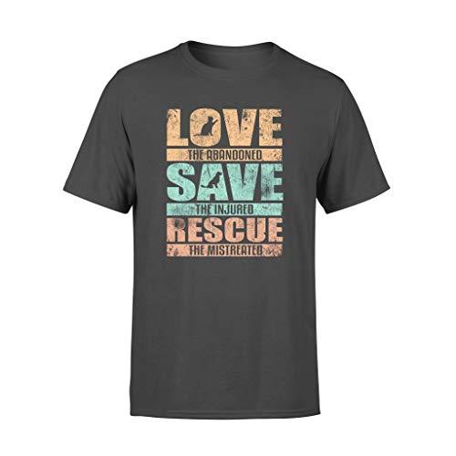 Love Save Rescue Dog Cat Pet Animal Love Distressed - Camiseta estándar