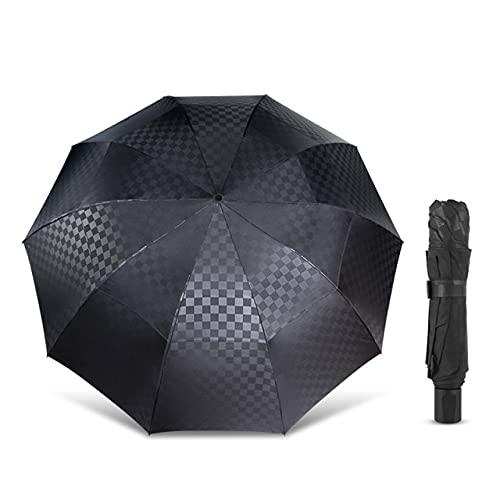 Paraguas plegable para hombres y mujeres, cortavientos de doble capa, paraguas plegable 10 K