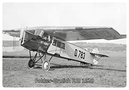 Metalen bord 30x20cm Fokker Grulich F.III 1920 Vliegtuig Duitse Rijk schild