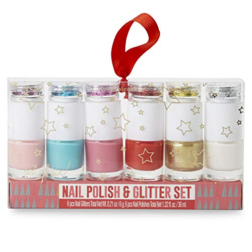 Charming Charlie Nail Polish Glitter Collection Giftable Set - Quick Drying, Easy Application - Pack of 6