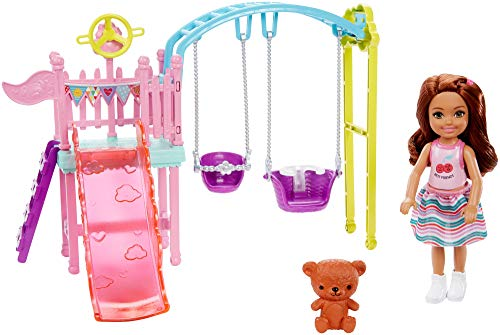 Barbie Club Chelsea Doll and Swing Set Playset with 2 Swings and Slide, Plus Teddy Bear Figure, Gift for 3 to 7 Year Olds