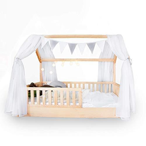 Hausbett Deko-Set mit Baldachin, Wimpel und Lichterkette für Hausbetten bis zu 2m Länge in weiß/grau für Jungen I Mädchen Deko für Kinderzimmer I Babyzimmer, Betthimmel lädt Kind zum Träumen ein