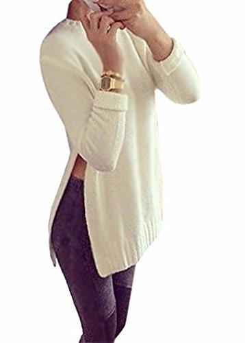 Minetom Damen Langarm Pullover Rundhals Knit Bluse Longshirt Mit Slit Side Hem Weiß 42