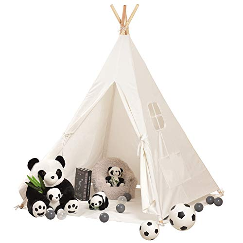SweHouse Teepee Tent for Kids/Girl Play Tent with Carry Case,Toys for Girls/Boys Indoor and Outdoor, Natural Cotton Canvas Children Indian Tipi Tent (White)