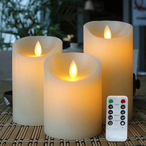 Parpadeo Sin Llama LED Vela electrónica, Hecha por la Cera verdadera y el Parpadeo de luz, Control Remoto con Temporizador, dimmer, Encendido/Apagado de Funciones, de 3 Piezas Set 1 Operado