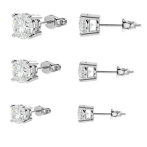 3 pares de pendientes de tuerca de plata de ley 925 con diamantes de Swarovski auténticos estampados en diseño clásico de cuatro puntas con doble muesca para mayor seguridad, 3 mm, 4 mm, 5 mm