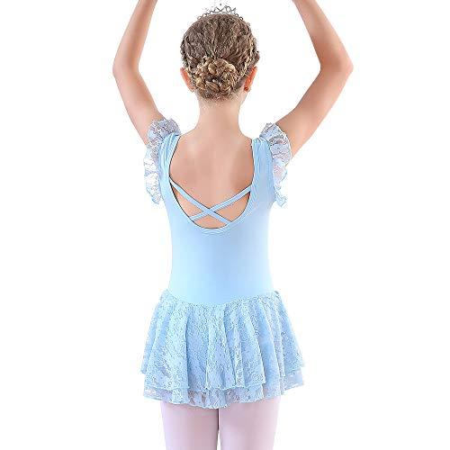 Soudittur Maillot de Ballet Niña Vestido de Danza Baile Tutú Leotardo Algodón Gimnasia Clásico Sin Mangas con Faldas de Encaje en Azul (6-7 Años)