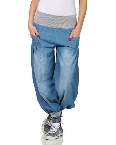 ZARMEXX Damen Pumphose im Denim Style Jeans Tanzhose Aladinhose zum Chillen Haremshose blau (34-42)