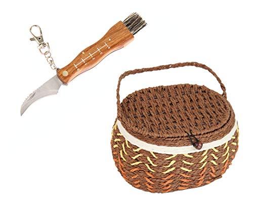Flanacom Pilzmesser mit Bürste/Pinsel und Lineal zum aufklappen aus rostfreiem Stahl im 2er Set mit Pilzkorb - hochwertiges kleines Taschenmesser Klappmesser für Outdoor und Camping (Messer + Korb)